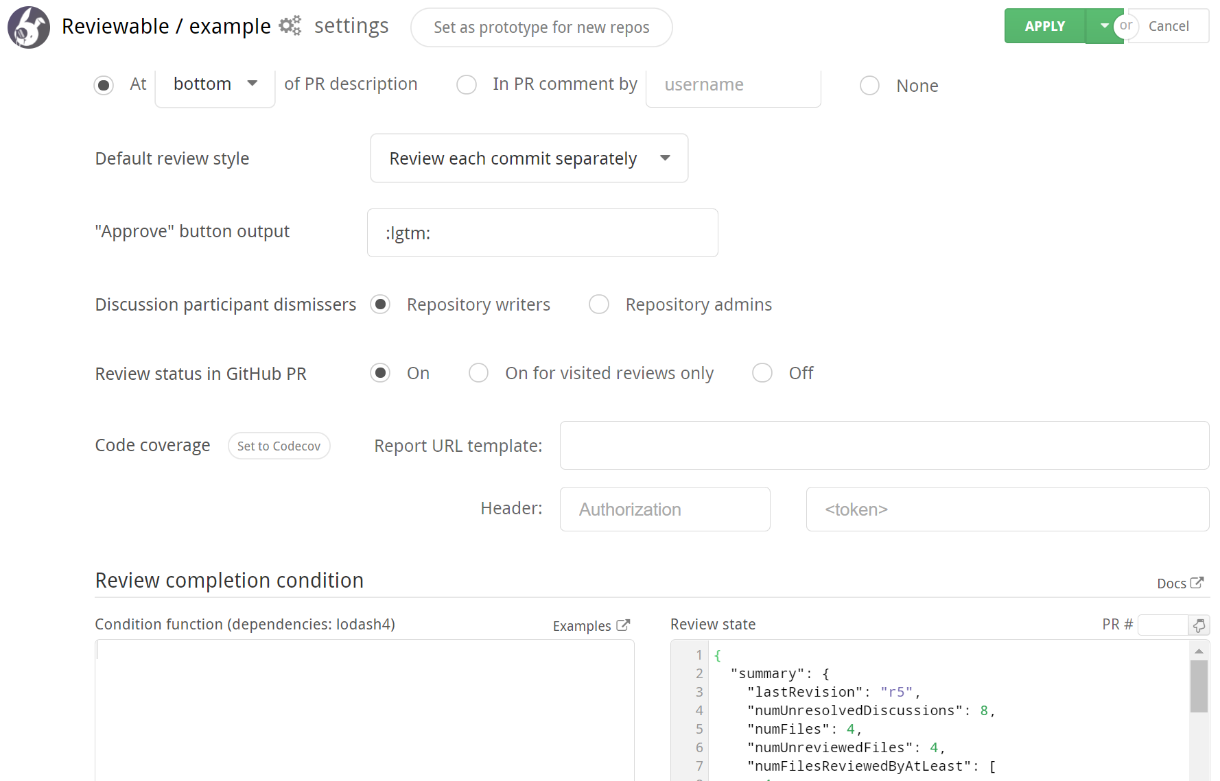 reviewable repo settings